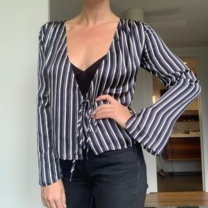 Cotton Candy Silky Striped Blouse